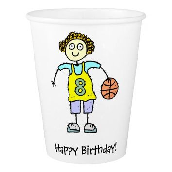 Basketball Girl Birthday Party Paper Cup