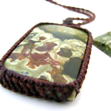 Rainforest Jasper Necklace / Green Rhyolite / Earth Day / Stone Jewelry / Green stone / Gemstone necklace / Natural Jewelry / Earthy / Green