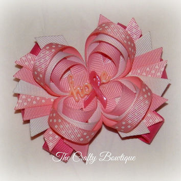 Pink Ribbon Hope ~ Layered Hair Bow with Spikes ~ Hot Pink and Pink ~ Polka Dot Bow ~ Breast Cancer Bow ~ Big Hair Bow ~ Pink Ribbon Bow
