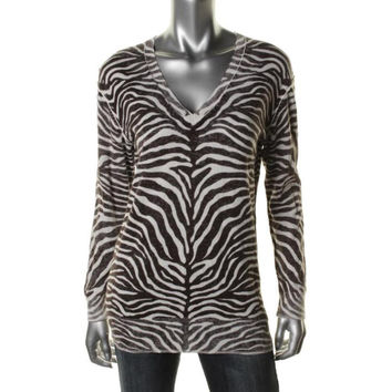 MICHAEL Michael Kors Womens Animal Print Faded Tunic Sweater