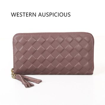 WESTERN AUSPICIOUS Womens Wallets And Purses Cowskin Genuine Leather Portefeuilles Femme EU And US Style Long Wallet