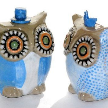 owl wedding cake toppers blue made to order by claylicious