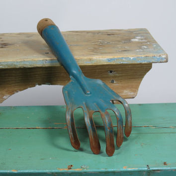Old Garden Tool Metal Fork Cultivator • Lovely Blue Paint • Vintage Gardening Tool