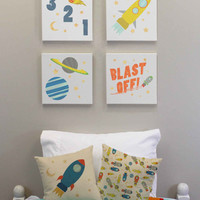 Kids Outer Space Wall Decor - Set of Four 12x12 inch Wall Canvases - Rocket Ship Room Decor, Children's Wall Art, Spaceship Print, Blast Off