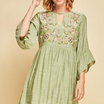 Sage Embroidered Babydoll Dress