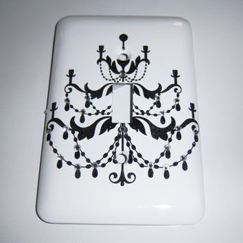 Glam Chandelier single light switch cover - swarovski crystals