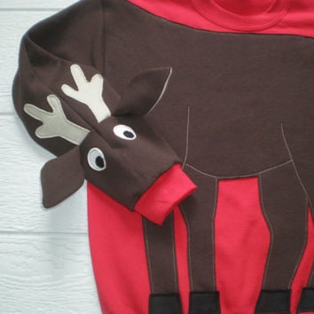 Rudolph Shirt, Reindeer sweatshirt, Deer sweatshirt, deer shirt, Christmas sweater, Christmas sweatshirt, adult unisex sizes, deer top