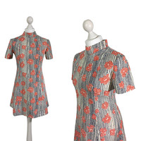 60's Micro Mini Dress | Coral Red And White Polka Dot Flowers And Navy Black Print Dress | 1960's Short Sleeve Dress