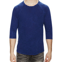 Alternative Apparel Men's Washed Out Slub Baseball Tee - Blue -