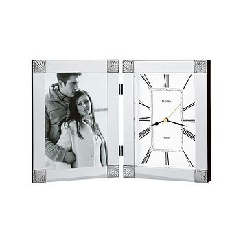 Bulova Ceremonial - Picture Frame Clock - Metal Case with Chrome Finish
