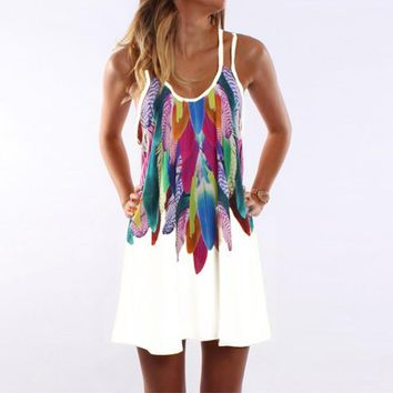 Fashioin Floral Hollow Cover Up Tunic Beach Dress