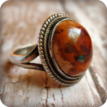Vintage sterling silver ring, Mexican fire opal, size 7.5