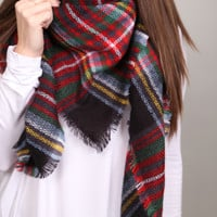 Holiday Plaid Blanket Scarf {Red}