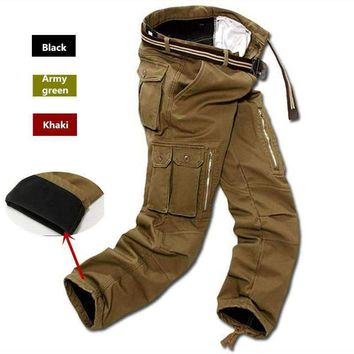 Men Fleece Cargo Pants Winter Thick Warm Pants Full Length Multi Pocket Casual Military Baggy Tactical Trousers Plus Size 29-40