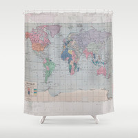 World Map Shower Curtain - Historical map - Fabric curtain, wanderlust, Home Decor - Bathroom - travel, blue, pastel