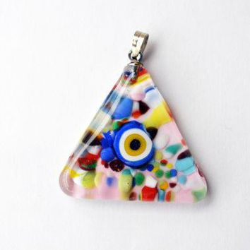 Murano Glass Evil Eye Triangle Pendant  Lamp Work Necklacecolorful Transparent Bead Pendant Colourful Murano Lampwork Turkish Evil Eye