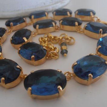 Montana Blue, Swarovski Necklace, Crystal, Collet Necklace, 18x13mm, Oval 14K Golden Plated, Anna Wintour inspired Necklace.