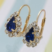 Gold Layered Women Teardrop Leverback Earring, with Sapphire Blue Crystal, by Folks Jewelry