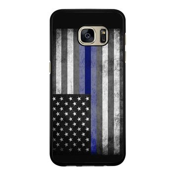 The Thin Blue Line American Police Officer Samsung Galaxy S7 Edge Case