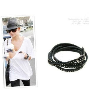 Hot  new multi-layer rivet winding leather bracelet woman bracelet fashion bracelets Black