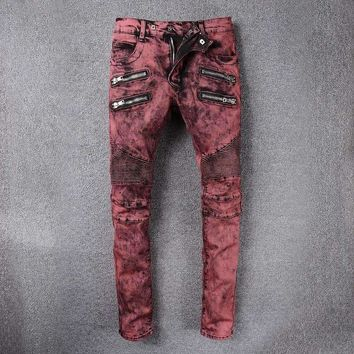 French Style 989Mens Distressed Embellished Ribbed Stretch Moto Pants Biker Jeans Slim Trousers Size 28 42