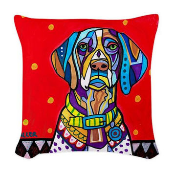 German Shorthaired Pointer Pillow - Woven Throw Pillow GSP Art Pillow - Dog Woven Throw Pillow - Modern Abstract Art by Heather Galler
