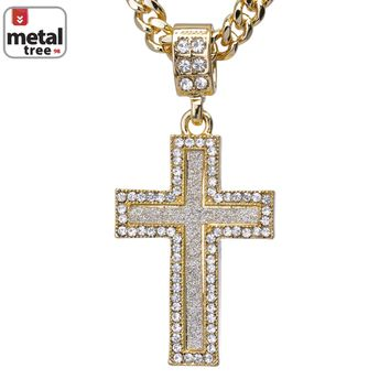 "Jewelry Kay style Men's Iced Out Mini Hip Hop Golden Cross Pendant 24"" Cuban Link Chain CPB 2052 G"