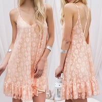 Flowy Summer Daisy Print Boho Dress
