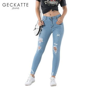 GECKATTE High Waist Light Blue Mom Skinny Jeans Woman Distressed Ripped