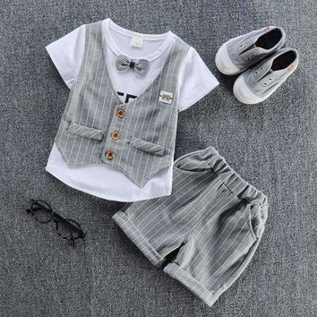 Mock Vest Tee And Choice Of Bow Tie Color - 2Pcs Set
