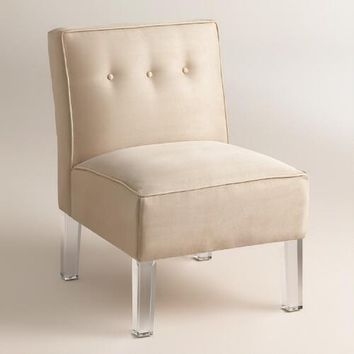 Micro Suede Randen Upholstered Chair - Acrylic Legs