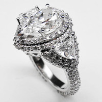 Engagement Ring - Pear Shape Diamond Vintage Engagement Ring Setting trillion side stones 2.4 tcw in Platinum - ES896PSPL
