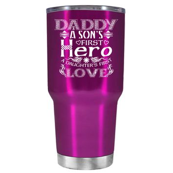 Daddy A Sons First Hero Translucent Pink 30oz Father's Day Tumbler