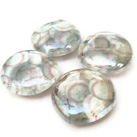 CLEARANCE Glass Marble Magnets Large Baseballs Set of 4