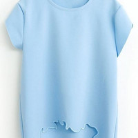 Short Sleeve T-Shirt with Bottom Cut Out