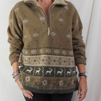 Woolrich Fleece Jacket L size Womens Zip Neck Brown Snowflake Deer Pattern Soft