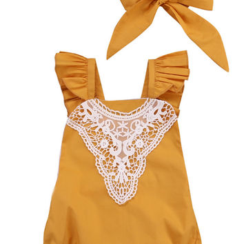 Cotton Kids Baby Girl  One-pieces Romper Sleeveless Jumpsuit Lace Sunsuit Outfits With Headband