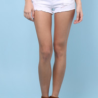Klique B White Distressed Shorts