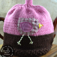 Tea Cozy Pink Brown Knit 4-6 cup - Pink Tea Cozy OOAK - Country Chic Teapot Cozy - Teapot Cozy Victoria, BC Vancouver Island Canada
