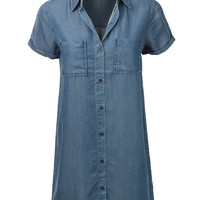 LE3NO Womens Soft Short Sleeve Tencel Shirt Dress with Pockets