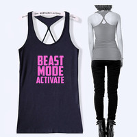 beast mode activate work out tank top women fitness shirt with print -102