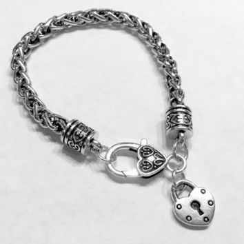 Lock Love Valentine Gift Wife Daughter Mom Charm Bracelet