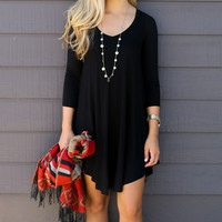 Never Let Go Black V-Neck Quarter Sleeve Dress