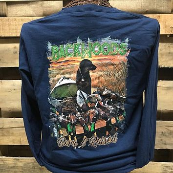Backwoods Born & Raised Lab Dog Duck Hunting Long Sleeve Bright Unisex T Shirt