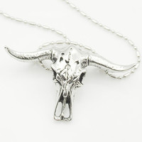 African Tribe Style Skull Head Bull Pendant Necklace For Man Boy Gothic Men's Stainless Steel Cow Jewellery