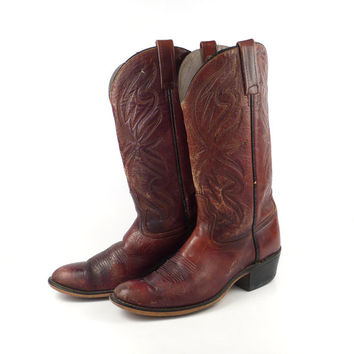 Acme Cowboy Boots 1970s Distressed Burgundy Brown Leather men's size 9 D