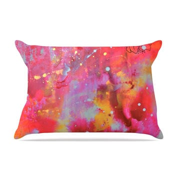 "Kira Crees ""Falling Paradise"" Pink Orange Pillow Case"