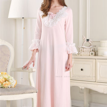 Free Shipping 2015 New Pijamas Frincess Style Nightdress Women's Pink Cotton Long Nightgown Home Wear Nightshirt