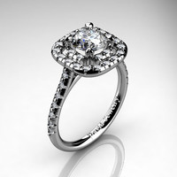 French 14K White Gold 1.0 Ct Russian Ice CZ Diamond Engagement Ring R1028-14KWGDRICZ
