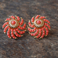 Vintage CROWN TRIFARI Clip On Earrings Abstract Swirled Coral Cabochons Gold Tone Statement Mid Century 1960's / Vintage Costume Jewelry